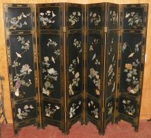 Black Lacquered Oriental Panel Gold Gilded w/ Soapstone Bird Decorations, 6 panels