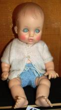 190 60 Rubber Head Plastic Body Jointed Effenbee Doll #440, crocheted outfit