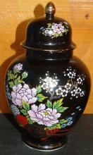 Porcelain Covered Ginger Jar with Flower Motif