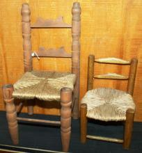 Collection of 2 Miniature Doll Chairs