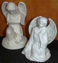 Pair of 2 Ceramic Angels with light