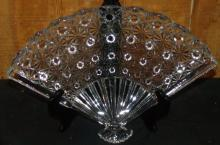 Crystal Button and Bows Fan Dish