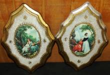 Pair of Italian Wooden Portrait Plaques