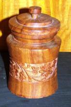 Handcarved Teak Wooden Covered Jar