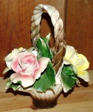Porcelain Capodimonte Handled Basket