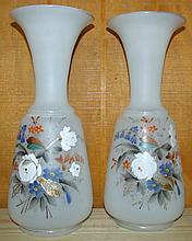 Pair Hand Painted Bristol Vases
