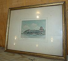 Framed Water Color of Seaside Town signed G. Parke