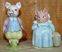 Pair 1956 Beatrix Potter Pig Figurines
