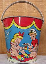 Vintage Metal Ohio Art Co. Toy Sand Bucket
