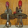 Pair of Red Wooden Handled Miniature Mixer Covers
