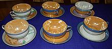 Set of 6 Lusterware Cups and Saucers, variety