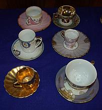 Set of 6 Miscellaneous Cups and saucers