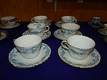 Set of 6 Blue and White Cups and Saucers