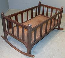 Primitive Oak Baby Cradle