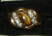 Ring - Rhinestone & Tiger Eye