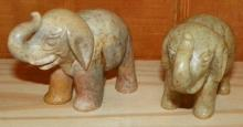 Pair of Hand Carved Soap Stone Elephants