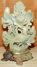 Hand carved Soapstone Flower on Soapstone Stand