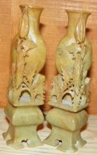 PAIR of Hand carved Soapstone Bookends