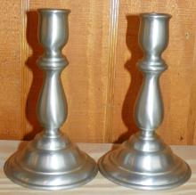 Pair Pewter Candle Sticks