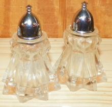 Pair Crystal Salt & Pepper Shakers