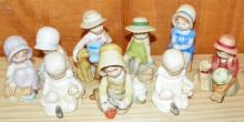 Collection of 9 Holly Hobbie Porcelain Figures