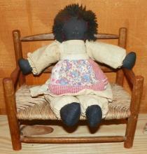 Toy Oak Weave Bench w/ Rag Doll