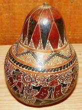 Tribal Hand Carved and Decorated Gourd