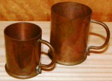 Pair Copper Miniature Mugs