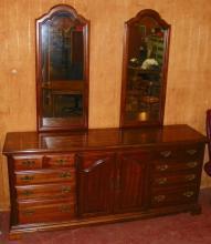 Contemporary Walnut American Drew Triple Dresser with Mirrors