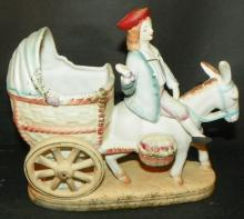 Bisque Figure -Man on Donkey Cart