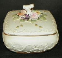 Bisque Covered Dish w/ High Relief Flowers
