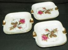 Collection 3 Porcelain & Hand painted Ashtrays