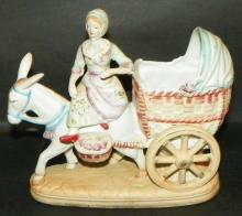 Bisque Figure - Lady on Donkey Cart