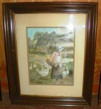 Framed Print Lady Feeding Geese