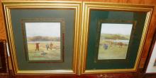 Pair of framed colored lithographs Golf scenes