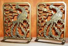 Pair of Brass Phoenix Book Ends
