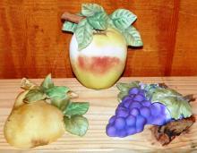 Plaster-ware Fruit Plaques Handpainted