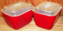 Pair Red Covered Refrigerator Dishes