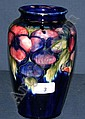 Moorcroft pottery vase decorated with pansy