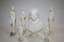 Five Oriental figures and a bust, all by A.