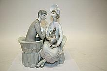 Lladro porcelain figure group - lady and gentleman