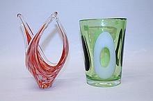 Good quality green tinted art glass bucket vase