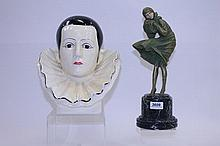 Plaster Pierrot bust and a resin figure of a young