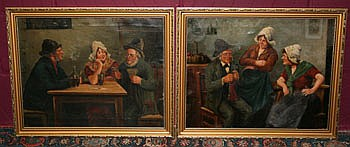 F Holzer pair German School oils on canvas in gilt