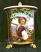 Good quality early nineteenth century German porcelain chocolate cup with finely painted reserve decorated with musketeer with wheelock musket in