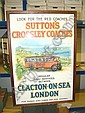 1920's framed and glazed poster - Sutton's Crossley Coaches Regular services between Clacton on Sea and London