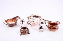 Selection of miscellaneous silver including an Edwardian cream jug (Chester 1907), early George V th