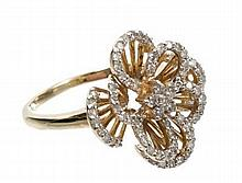 Diamond flower cocktail ring with stylised openwork design of brilliant cut and single cut diamonds,