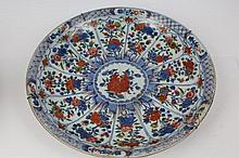 Early 18th century Chinese porcelain charger painted in Imari and famille verte palette, with segmen