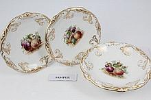 Good quality Victorian Davenport dessert service, each individually polychrome painted with fruit wi